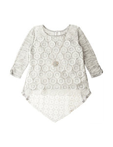 Beautees Crochet Front Hi-Lo Top - Girls 7-16