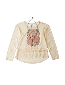 Beautees Owl Print Lace Top with Necklace - Girls 7-16