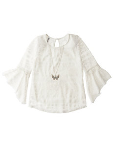 Beautees Crochet Top with Fashion Necklace - Girls 7-16