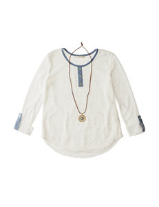 Self Esteem 2-pc. Lace Henley Top & Necklace Set - Girls 7-16