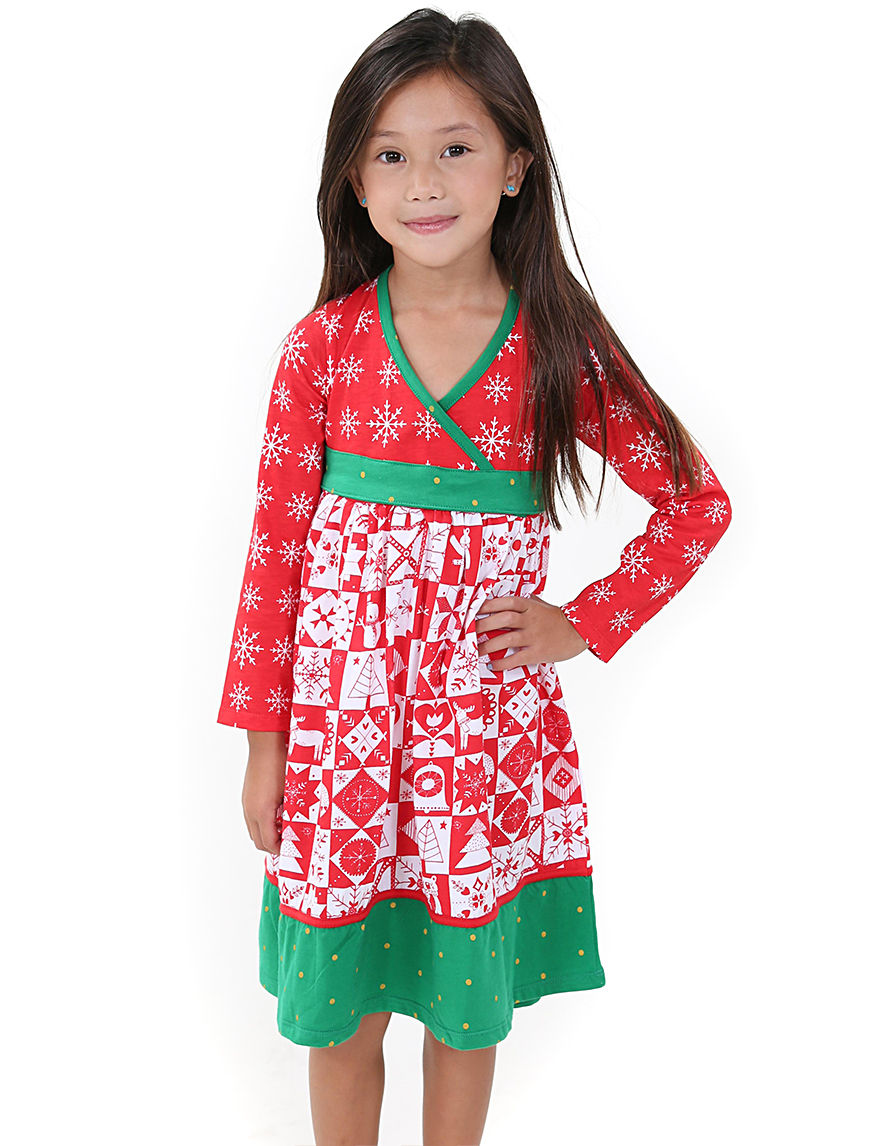 Jelly the pug christmas themed faux wrap dress toddlers amp girls 4 6x