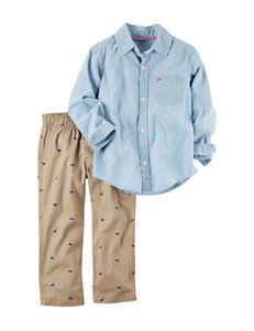 Carter's 2-pc. Woven Shirt & Dino Print Pants Set - Toddler Boys