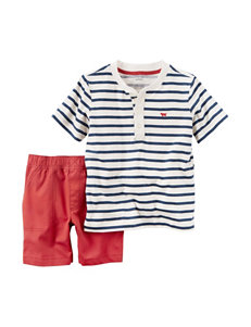 Carter's 2-pc. Stripe Print Henley Top & Shorts Set - Toddler Boys