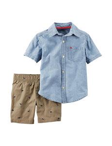 Carter's 2-pc. Woven Top & Dino Print Shorts Set - Toddler Boys