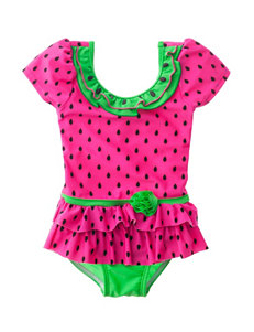 Sole Swim Pink / Green One-piece Swimsuits