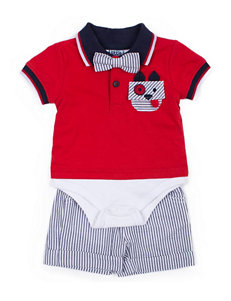 Boys Rock 2-pc. Puppy Polo Bodysuit & Shorts Set - Baby 3-9 Mos.