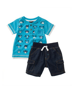 Boys Rock 2-pc. Henley T-shirt & Shorts Set - Baby 12-24 Mos.