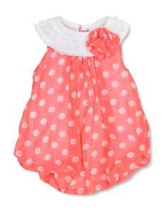 Baby Essentials Coral Dot Print Bubble Dress - Baby 3-9 Mos.