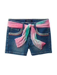 Squeeze Embroidered Denim Shorts with Fashion Belt - Toddlers & Girls 4-6x