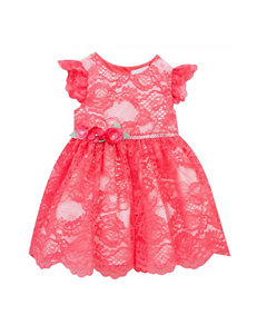 Rare Editions 2-pc. Scalloped Lace Social Dress & Diaper Cover Set - Baby 12-24 Mos.