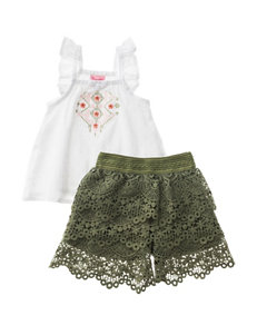 Nannette 2-pc. Embroidered Swiss Dot Top & Shorts Set - Baby 12-24 Mos.