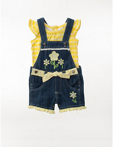Nannette 2-pc. Daisy Top & Shortalls Set - Baby 12-24 Mos.
