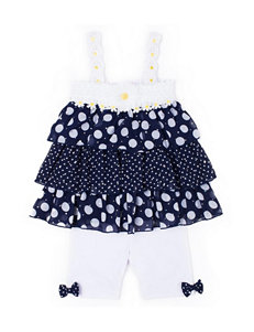 Little Lass 2-pc. Polka Dot Tiered Top & Shorts Set - Baby 12-24 Mos.