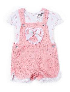 Little Lass 2-pc. Floral Print Bodysuit & Lace Shortall Set - Baby 12-24 Mos.