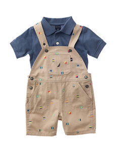 Nautica 2-pc. Polo Shirt & Shortalls Set - Baby 12-24 Mos.