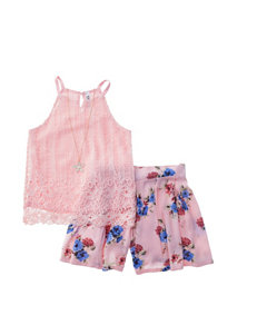 Beautees 2-pc. Pleated Chiffon Skort Set - Girls 7-16
