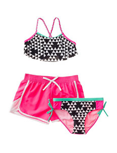 Pink Platinum Black Swimsuit Sets Boyshort