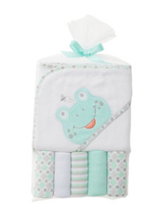 Baby Gear White / Green Hooded Towels