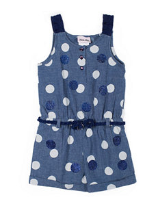 Little Lass Sequin Dot Chambray Romper - Toddlers & Girls 5-6x