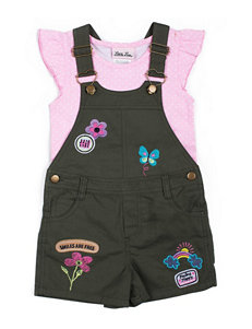 Little Lass 2-pc. Top & Patches Shortall Set - Toddlers & Girls 4-6x