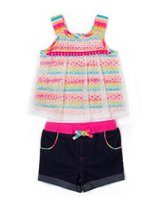 Little Lass 2-pc. Bright Tassel Top & Shorts Set - Girls 4-6x