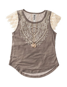 Beautees Crochet Knit Top with Necklace - Girls 7-16