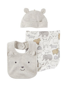 Carter's Heather Grey Bibs & Burp Cloths