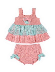 Little Lass 2-pc. Lace Smocked Top & Diaper Cover Set - Baby 3-9 Mos.