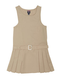 French Toast Side Pleated Jumper with Faux Belt - Girls 7-14