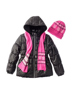 Pink Platinum Black Glitter Puffer & Quilted Jackets