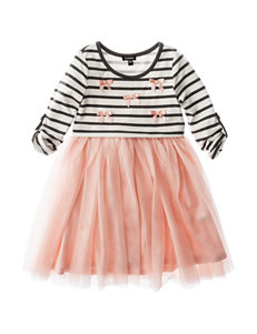 Zunie Striped Print & Tulle Dress - Toddlers & Girls 4-6x