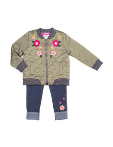 Little Lass 3-pc. Embroidered Jacket, Top & Bottom Set - Girls 4-6x