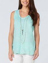 Democracy Solid Color Eyelet Trimmed Tank Top