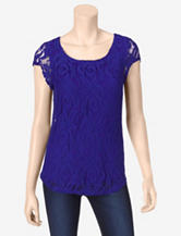 Signature Studio Floral Lace Overlay Top – Misses