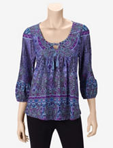 Energé Folksy Giant Purple Peasant Top – Misses