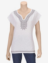 Hannah White Embroidered Top – Misses