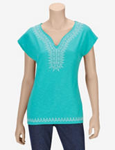 Hannah Turquoise Embroidered Top – Misses