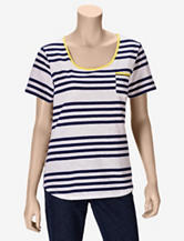 Hannah Navy & Yellow Striped T-shirt – Misses