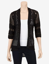 Hannah Open Weave Solid Color Knit Cardigan – Misses