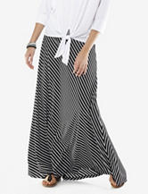 New Direction Black and White Striped Print Maxi Skirt – Misses