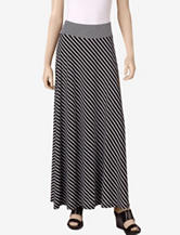 Hannah Black & White Diagonal Striped Maxi Skirt – Misses