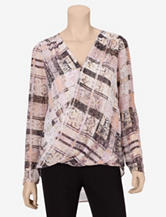 DKNYC Draped Plaid Print Layered Top – Misses