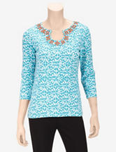 Ruby Rd. Beaded Ikat Top – Misses
