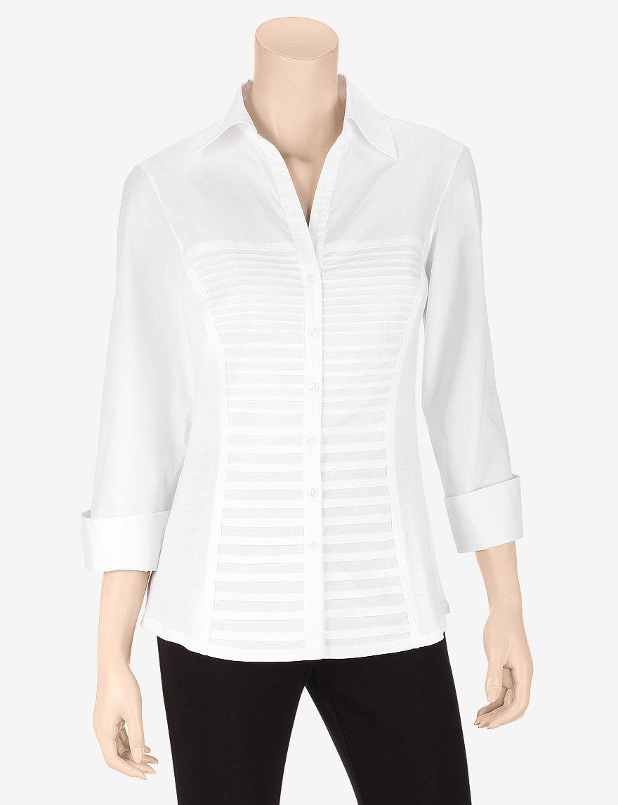 Zac & Rachel White Casual Button Down Shirts