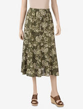 Erika Green Combo Print Panel Skirt – Misses