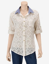 Signature Studio Lace Button Top – Misses