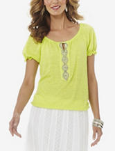 Hannah Solid Color Bead Embellished Top – Misses