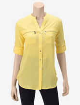 Calvin Klein Zip Pocket Solid Color Woven Top