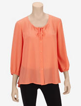 Valerie Stevens Peach Peasant Top – Misses