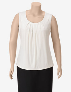 Kasper Separates Ivory Pleated Top – Plus-sizes